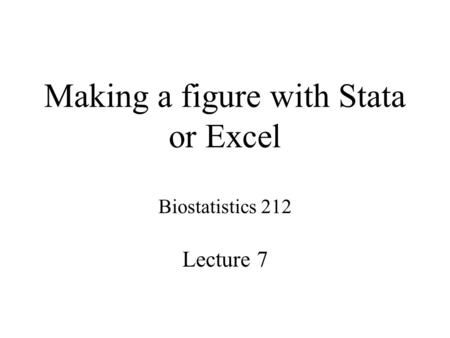 Making a figure with Stata or Excel Biostatistics 212 Lecture 7.