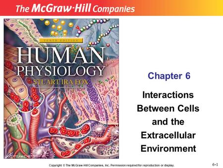 Copyright © The McGraw-Hill Companies, Inc. Permission required for reproduction or display. Chapter 6 Interactions Between Cells and the Extracellular.