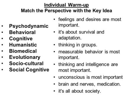Individual Warm-up Match the Perspective with the Key Idea Psychodynamic Behavioral Cognitive Humanistic Biomedical Evolutionary Socio-cultural Social.