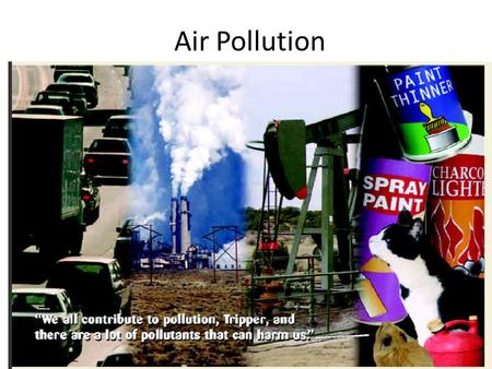 Air Pollution. Three Big Ideas 1.Outdoor air pollution, in the forms of industrial smog, photochemical smog, and acid deposition, and indoor air pollution.