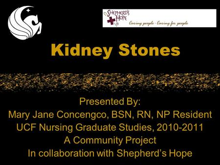 Kidney Stones Presented By: Mary Jane Concengco, BSN, RN, NP Resident UCF Nursing Graduate Studies, 2010-2011 A Community Project In collaboration with.