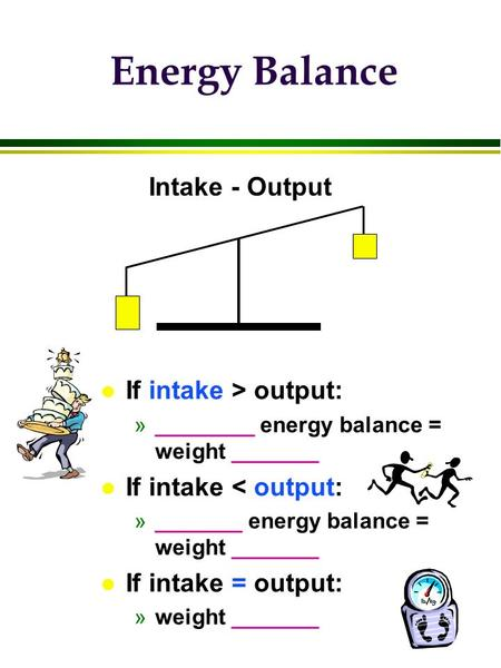 Energy Balance l If intake > output: »________ energy balance = weight _______ l If intake < output: »_______ energy balance = weight _______ l If intake.
