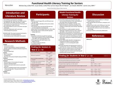 Functional Health Literacy Training for Seniors Michele Day, LCSW, PhD 1, Susan Dollar, LCSW, PhD, Carmen Boyd, MS LPC RD/LD 2, Jan Atwell, MSN RN 3, Carrie.