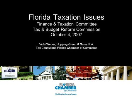 Florida Taxation Issues Finance & Taxation Committee Tax & Budget Reform Commission October 4, 2007 Vicki Weber, Hopping Green & Sams P.A. Tax Consultant,
