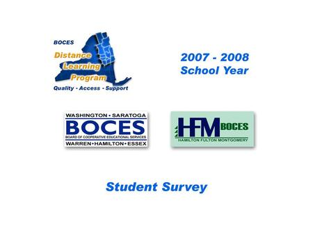 .. SAN-HFM Distance Learning Project Student Survey 2007 – 2008 School Year BOCES Distance Learning Program Quality Access Support.