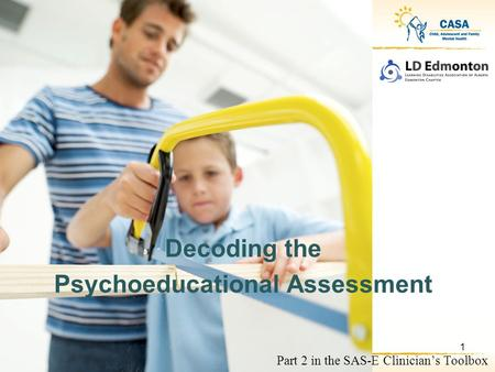 Part 2 in the SAS-E Clinician's Toolbox Decoding the Psychoeducational Assessment 1.