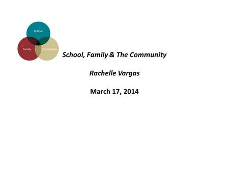School, Family & The Community Rachelle Vargas March 17, 2014.
