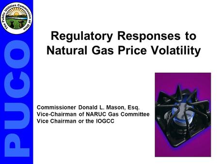 Regulatory Responses to Natural Gas Price Volatility Commissioner Donald L. Mason, Esq. Vice-Chairman of NARUC Gas Committee Vice Chairman or the IOGCC.