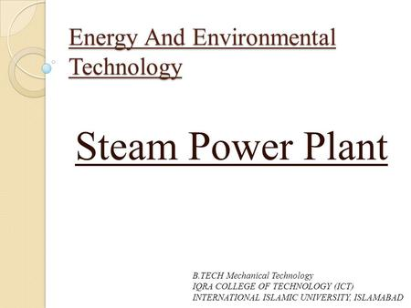 Energy And Environmental Technology