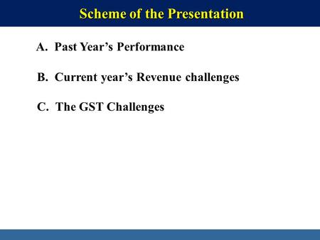 Directorate General of Systems & Data Management, CBEC Scheme of the Presentation Scheme of the Presentation A. Past Year's Performance B. Current year's.
