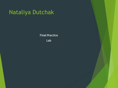 Final Practice Lab Nataliya Dutchak. What are the different systems and their component? 1 2 3 1 2 1.