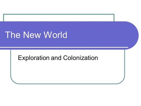 The New World Exploration and Colonization. Review Portuguese Treaty of Tordesillas Spanish Armada and the 'Sea Dogs' Lost Colony Key Colonies (significance.