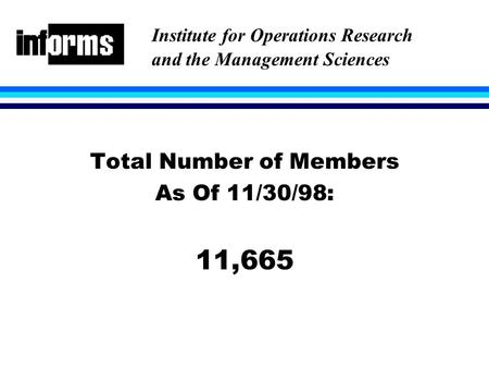 Total Number of Members As Of 11/30/98: 11,665 Institute for Operations Research and the Management Sciences.