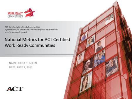 ACT Certified Work Ready Communities A framework for community-based workforce development to drive economic growth National Metrics for ACT Certified.
