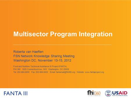 Multisector Program Integration