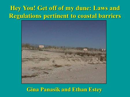 Hey You! Get off of my dune: Laws and Regulations pertinent to coastal barriers Gina Panasik and Ethan Estey.