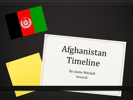Afghanistan Timeline By: Justin Mitchell Green B.