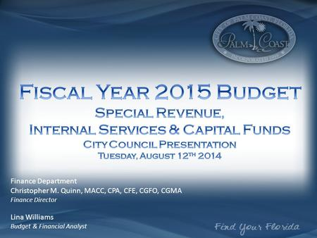 Finance Department Christopher M. Quinn, MACC, CPA, CFE, CGFO, CGMA Finance Director Lina Williams Budget & Financial Analyst.