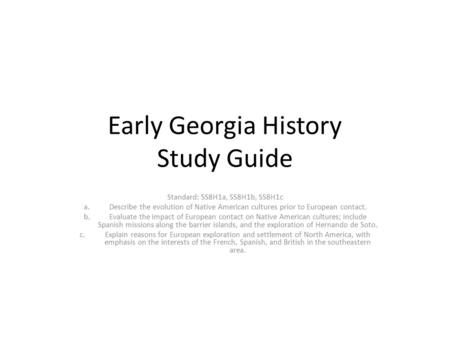 Early Georgia History Study Guide