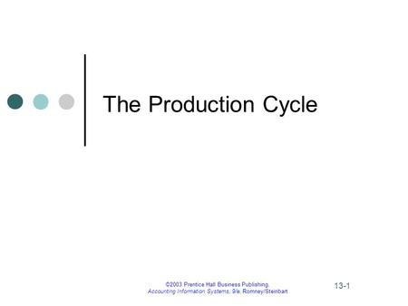 ©2003 Prentice Hall Business Publishing, Accounting Information Systems, 9/e, Romney/Steinbart 13-1 The Production Cycle.