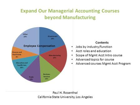 Expand Our Managerial Accounting Courses beyond Manufacturing Employee Compensation Paul H. Rosenthal California State University, Los Angeles Contents.