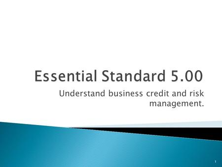 Understand business credit and risk management. 1.