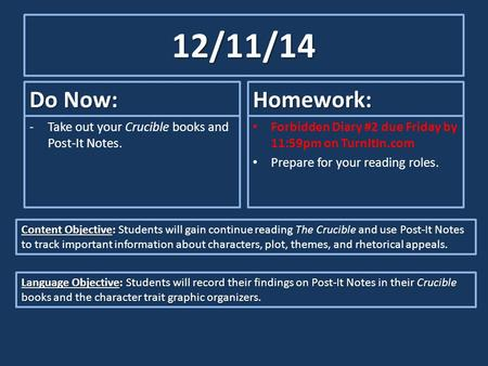 12/11/14 Do Now: -Take out your Crucible books and Post-It Notes. Homework: Forbidden Diary #2 due Friday by 11:59pm on TurnItIn.com Prepare for your reading.