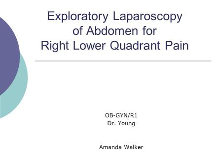 Exploratory Laparoscopy of Abdomen for Right Lower Quadrant Pain OB-GYN/R1 Dr. Young Amanda Walker.