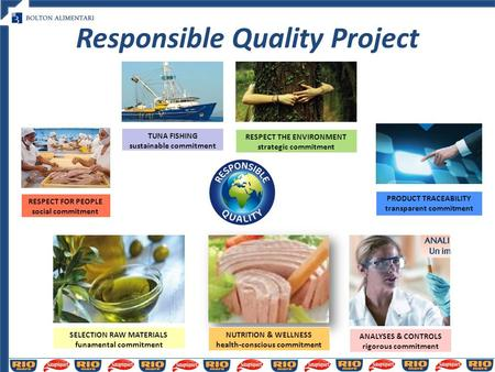 Responsible Quality Project TUNA FISHING sustainable commitment RESPECT THE ENVIRONMENT strategic commitment SELECTION RAW MATERIALS funamental commitment.