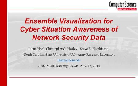 1/27 Ensemble Visualization for Cyber Situation Awareness of Network Security Data Lihua Hao 1, Christopher G. Healey 1, Steve E. Hutchinson 2 1 North.