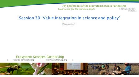 Ecosystem Services Partnership |  | | 7th Conference of the Ecosystem Services Partnership 8-12 September.