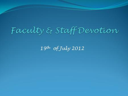 Faculty & Staff Devotion