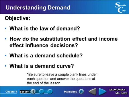 Chapter 4SectionMain Menu Understanding Demand Objective: What is the law of demand? How do the substitution effect and income effect influence decisions?
