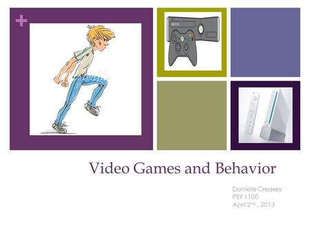 + Video Games and Behavior Danielle Creasey PSY 1100 April 2 nd, 2013.