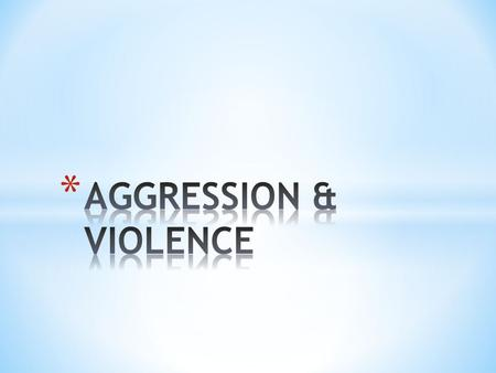Aggression - refers to behavior between members of the same species that is intended to cause humiliation, pain, or harm. - behavior that is intended.