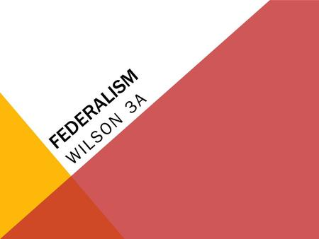FEDERALISM WILSON 3A. KEY QUESTIONS WHO GOVERNS Where is sovereignty located in the American political system? How is power divided between the national.