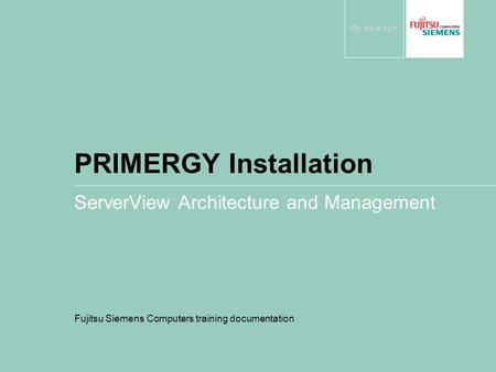 PRIMERGY Installation