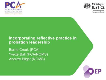 EP Barrie Crook (PCA) Yvette Ball (PCA/NOMS) Andrew Blight (NOMS) Incorporating reflective practice in probation leadership.