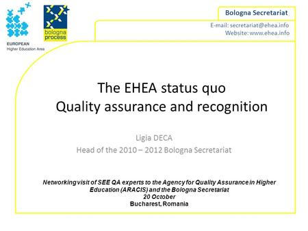Website:  Bologna Secretariat The EHEA status quo Quality assurance and recognition Ligia DECA Head of the 2010.