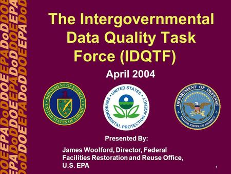 DOEEPADoDDOEEPADoDDOE EPADoDDOEEPADoDDOEEPA DoDDOEEPADoDDOEEPADoD 1 The Intergovernmental Data Quality Task Force (IDQTF) April 2004 Presented By: James.