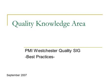 Quality Knowledge Area