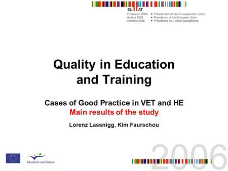 Quality in Education and Training