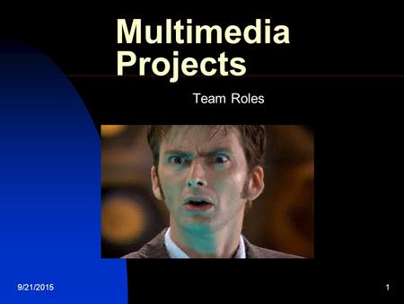 9/21/20151 Multimedia Projects Team Roles. 9/21/20152 Project Phases Many large scale projects follow the system devolpment life cycle (SDLC)