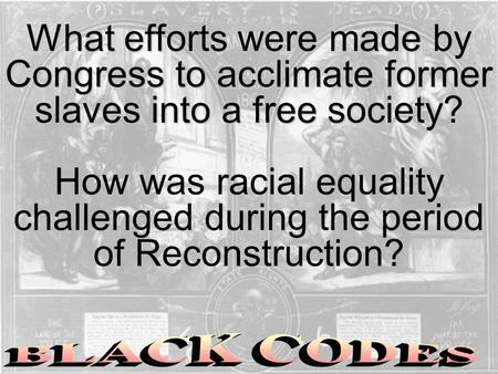 What efforts were made by Congress to acclimate former slaves into a free society? How was racial equality challenged during the period of Reconstruction?