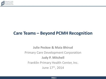 Care Teams – Beyond PCMH Recognition