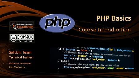 PHP Basics Course Introduction SoftUni Team Technical Trainers Software University