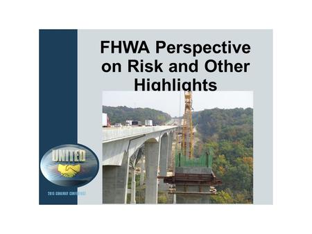 FHWA Perspective on Risk and Other Highlights. GROW AMERICA Proposal Administration's Proposal 6 Years in length $317 billion for highways and bridges.