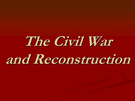 The Civil War and Reconstruction. Crisis Underground Railroad secret routes for slaves to escape to the North. Underground Railroad secret routes for.