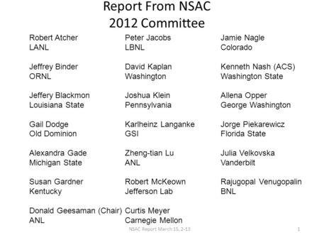 Report From NSAC 2012 Committee Robert AtcherPeter JacobsJamie Nagle LANLLBNLColorado Jeffrey BinderDavid KaplanKenneth Nash (ACS) ORNLWashingtonWashington.