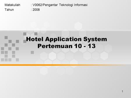 Hotel Application System Pertemuan